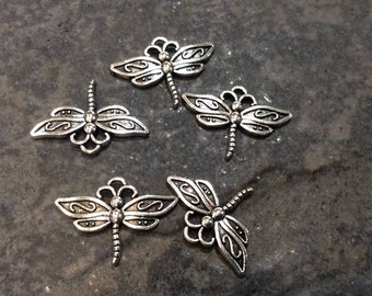 Elegant Dragonfly charms Package of 5 charms perfect for adjustable bangle bracelets Antique silver finish dragonfly charms