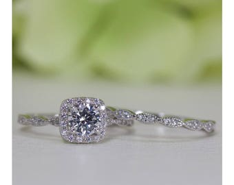 0.50 Ct. Cushion Halo Fine Quality Cubic Zirconia Engagement Ring Set In Sterling Silver, Engagement Ring, Wedding Ring Set | #001