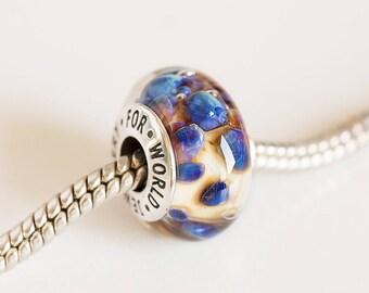 Cubic zirconia bead. Lampwork Glass bead. Silver cored bead. Big hole bead, Fits Pandora. European Bracelet charms. Murano glass beads