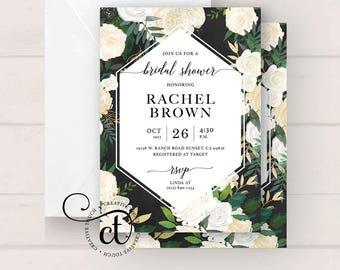 Bridal Shower Invitation, Bridal Shower Invite, Miss to Mrs. Wedding Shower Invitation, Greenery, rustic floral Wedding Shower invite, boho