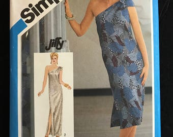 Simplicity 6430 -  1980s Slim Fitting, Single Shoulder Dress in Midi or Maxi Length - Size 6 8