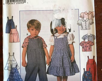 Simplicity 7566 - Toddler's Top, Overalls, Romper, and Jumper - Size 2 3 4