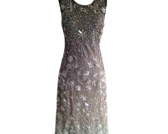 Mocha Short Bridesmaid Dress, Great Gatsby Inspired Dress, 1920s Flapper, Roaring 20s Dress, Art Deco 20s Wedding Reception Dress, M 10UK