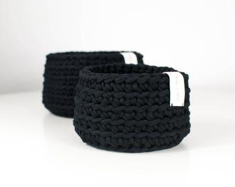 Multipurpose Crochet Basket . Dramatic Black | Multipurpose Basket | Bowl | Yarn Basket | Crochet Bowl | Basket | Handmade | Crochet Storage