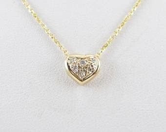 14K Yellow Gold Diamond Heart Necklace 18 Inches - Valentines Gemstone Necklace