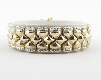 "14k Yellow And White Gold Women's Bracelet - Two Tone Fancy Design Bracelet 7"" 19.6 grams"