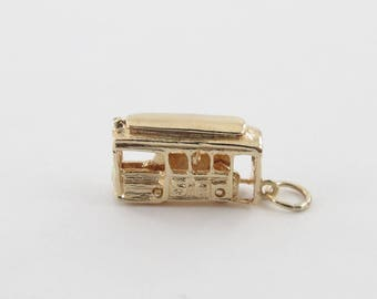 Vintage 14k Yellow Gold San Francisco Cable Car Trolley Charm