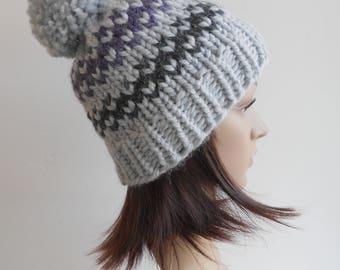 Chunky Knit, Pom Pom Hat, Alpaca Slouchy Knitted Beanie Purple Charcoal Gray Fair Isle Gift for Her Handmade in Alaska