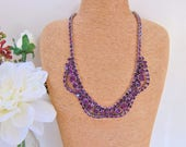 Diamante Necklace Purple Pave Bib 19 Inch Costume Jewellery Jewelry Gift Ideas