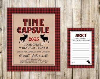 LUMBERJACK First Birthday TIME CAPSULE, Boy Time Capsule Sign & Card, Winter 1st Birthday Time Capsule, Buffalo Plaid Shower Wishes, Flannel
