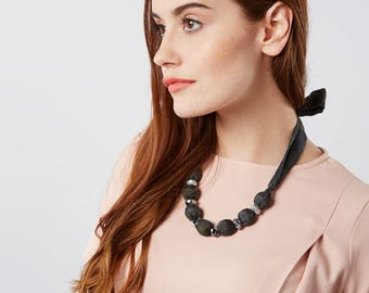 Black boho necklace, gift for her, black necklace, fabric bead necklace, silk ribbon necklace, statement necklace, spring fashion, silk gift