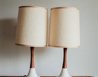 Mid Century Walnut & Ceramic Table Lamps - Pair - Made in Denmark