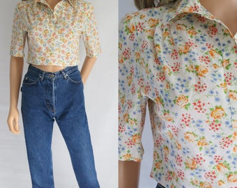 Cropped floral blouse shirt top, short sleeves, french vintage, cotton, collared, short crop blouse, small