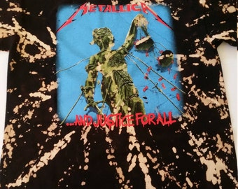 Metallica Tie Dye Bleached Tshirt ... And Justice for All Blk XL