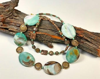 Teal Agate Necklace: multi strand organic green agate with turquoise, 2 strand beaded Western, Sundance, Southwest resort boutique