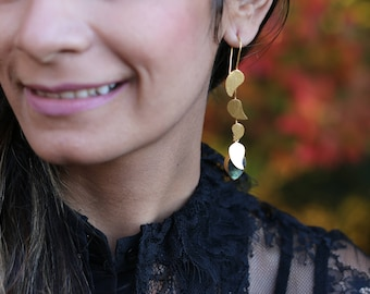 LABRADORITE LEAF DROP Earrings / Gold Plated / Handmade / Gift for her