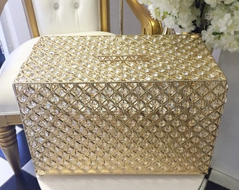 Wedding Gold and Diamante crystal beaded Wedding Event wishing well box