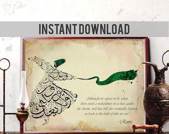 Rumi Quote Art, Sufi Home Decor, Islamic Calligraphy Wall Art, Whirling Dervish Watercolor Art, Mevlana Print, Semazen, Digital Download R17