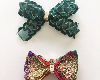 Bow set/gold bow set/green bow/multicolor bow/girls accesories/hair bows/sparkle bows