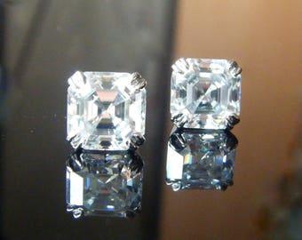 Moissanite EARRINGS Platinum Harro Moissanite Asscher Stud Earrings Asscher Moissanite 3 carat Double Prong Claw Stud Earrings