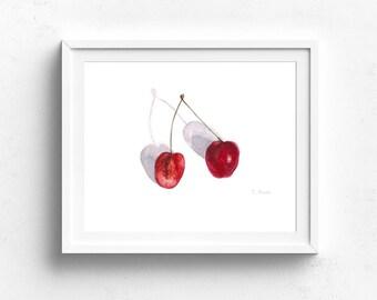 cherry watercolor art print - Kitchen Wall Art - cherry Illustration - cherry - Fruit Print - cherry illustration - Fruit Illustration