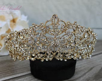 FAST SHIPPING!! Gold Swarovski Tiara, Quinceañera Tiara, CrystalTiara, Crown , Wedding Headpiece, Bridal Tiara,Bridal Headpiece, Sweet 16