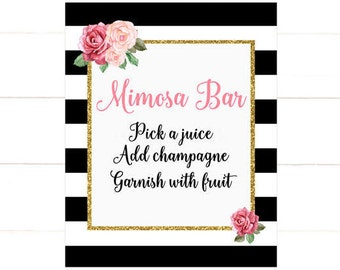 Bubbly Bar Sign, Pink Black and White Stripe Gold Mimosa Bar Sign, Bubbly Bar Sign, Floral Instant Download PDF Printable 253