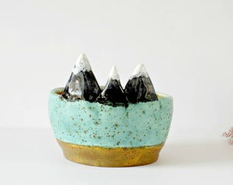Mountain Ring Dish, Ceramic Trinket Dish, Small Pottery, Shallow Planter, Turquoise Desk Accessories, Bedroom Organisation, Mountain Decor