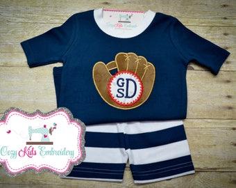 Baseball glove pajamas boy girl child kid toddler infant baby personalized custom monogram applique embroidery name