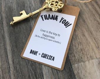 Key bottle opener wedding favors - guest favors - personalized favors