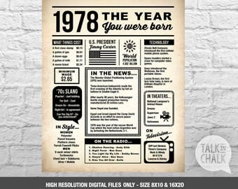 1978 The Year You Were Born | Newspaper-Style DIGITAL Poster | 1978 Birthday PRINTABLE Sign | 1978 Birthday Gift | 40th Birthday Ideas