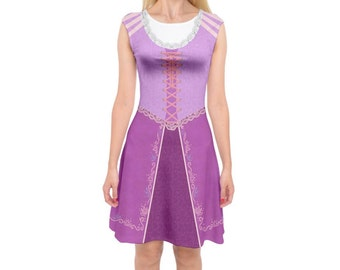 Rapunzel Tangled Inspired Cap Sleeve Midi Dress