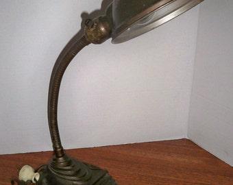 Vintage Gooseneck Desk Lamp/Industrial Eagle Deco Lamp/Antique Cast Iron Light/