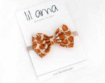 Halloween Hair Bow - Pumpkin Headband - Baby Bow Headband - Halloween Headband - Baby Girl Bow - Nylon Headband - Pumpkin Bow