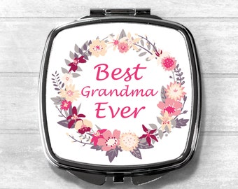 Best Grandma Ever Mirror, Cosmetic Mirror, Pocket Mirror, Mother Gift, Mother's Day, Mothering Sunday, Mother's Day Gift, Wedding Gift