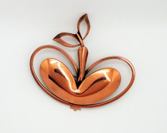 Renoir Copper Apple Brooch - Modernist Style Brooch - MCM Apple Brooch - Mid Century Modern Fruit Brooch - Modernist Copper Brooch