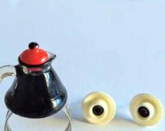 Coffee Talk Pot of Coffee Ring and Coffee Cup Earrings, Miniature Food Jewelry, Inedible Jewelry, Coffee Jewelry, Coffee Earrings, Fake Food