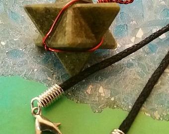 VESUVIANITE, Idocrase Or Vasonite,  Crystal MERKABA Star Sacred Geometry Pendant with Copper Wrap and Hemp Chain