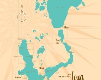 Lake Louise AK Map Canvas Print - Ak map
