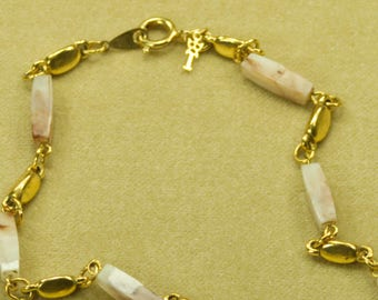 Mid-Century Trifari Lucite Goldtone Station Necklace