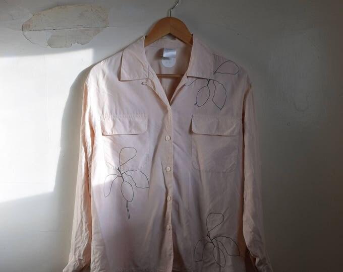 Lydia Pastel Silk Long-Sleeve Blouse