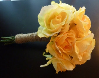 Rustic yellow rose wedding bouquet. Country wedding. Shabby chic. Yellow bouquet
