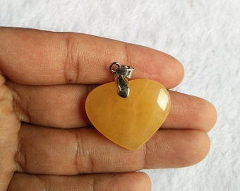 Yellow Aventurine Pendant   Heart Shaped and Oval Shaped