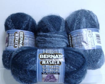 Tidal Tones Bernat Masala Yarn Self Striping Pattern, Chunky Yarn Bundle of Variegated Blue Tones for Unique Knitting Effects Bulky Yarn