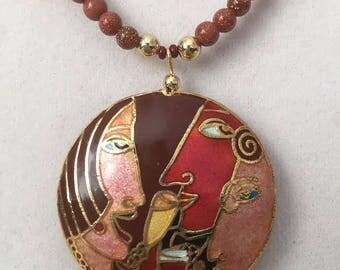Large Cloisonne Pendant on a Goldstone and Swarovski Crystal Necklace