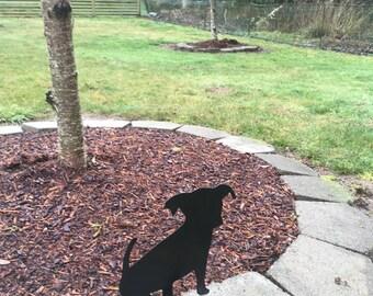 Puppy metal art,Yard, garden art pot decoration