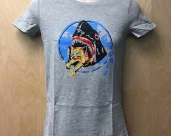 Saul Silver Women's T-Shirt Shark Attack Cat Tee Shirt Halloween Costume Movie Stoner Shark Eating Kitten Eat Shark Bite Cat Gift Idea