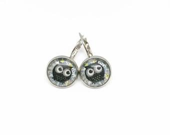 Sleepers owls cabochons - Rod - glass 12 mm - stainless steel earring - hypoallergenic / Owls earrings