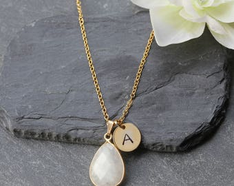 Gold Moonstone Necklace - June Birthstone Necklace - Moonstone Jewellery Jewelry  -Moonstone Personalized Personalised Initial Necklace  B78