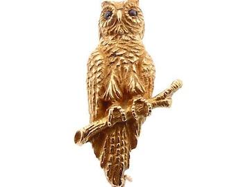 Victorian 14K Gold & Garnet Figural Owl Pin